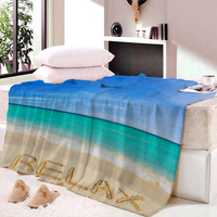Relax Pattern Print Blanket Shell Starfish Seascape Digital Print Sofa Bedroom Spring And Autumn Blanket Thin Quilt