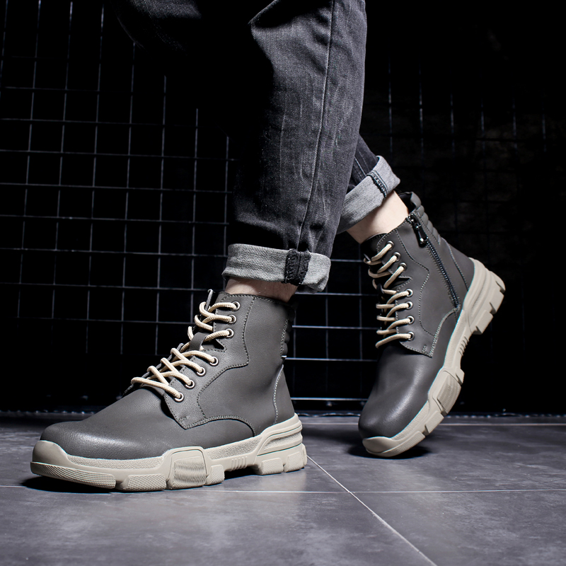 Men's Casual Motorcycle Ankle Boot Combat Leather Men Winter Boots Men Lace-up Desert Military Boots Mens Tactical Boots' Army swat military style cargo jeans men casual motorcycle denim biker jeans stretch multi pockets tactical combat army jean