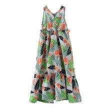 Fashion Flower Print Girl Dress 2017 New Summer Princess Party Dresses Cotton Sleeveless Long Girls Dress Size 5-13Y DQ246