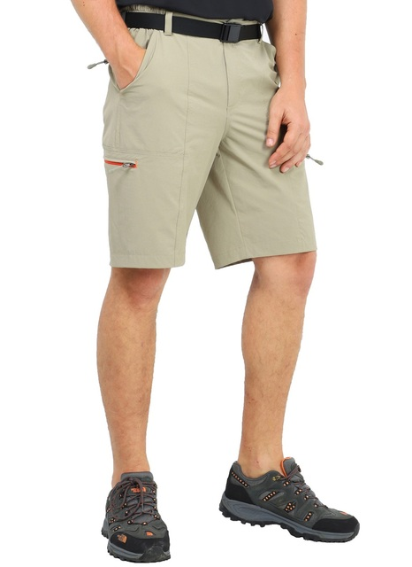 MIER Mens Stretch Hiking Shorts Quick Dry Nylon Cargo Shorts with Zipper Pockets Water Resistant