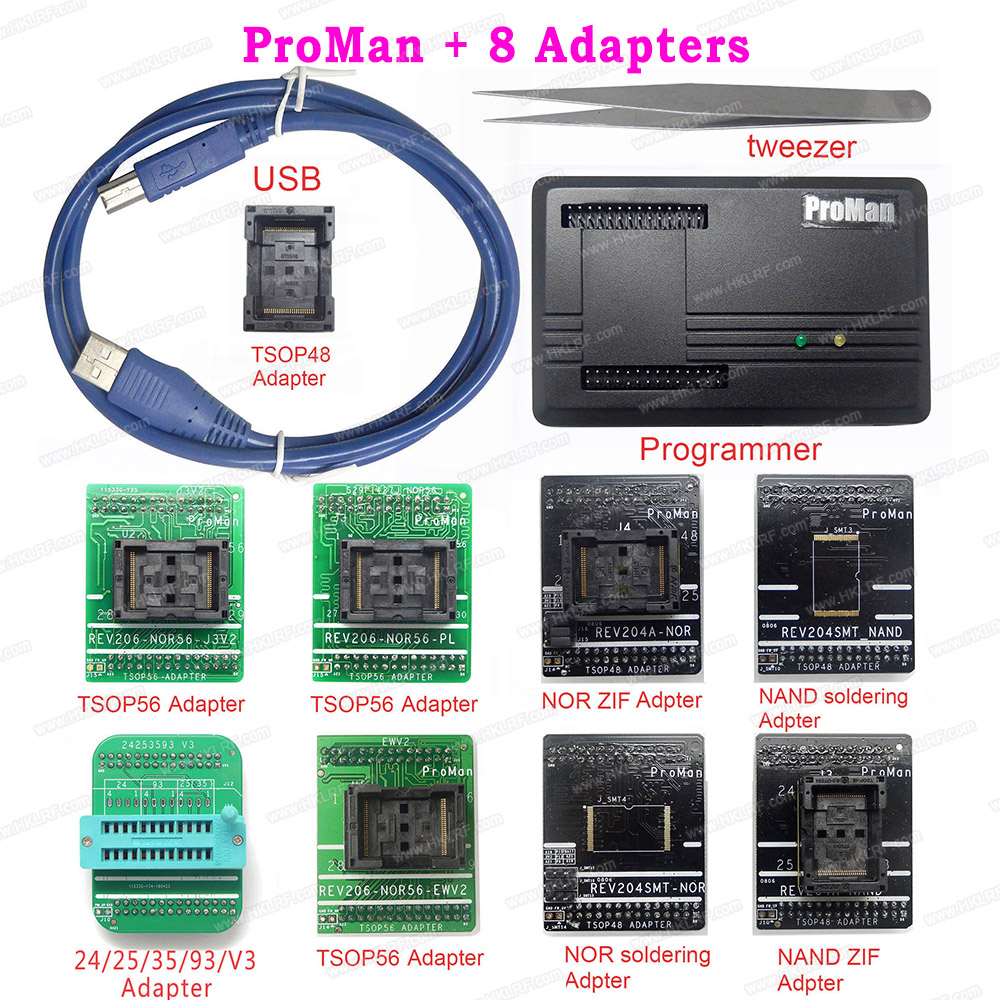 Proman Professional Nand Nor Programmer TL86 Plus Repair Tool Vopy NAND FLASH Data Recovery 8 Adapters