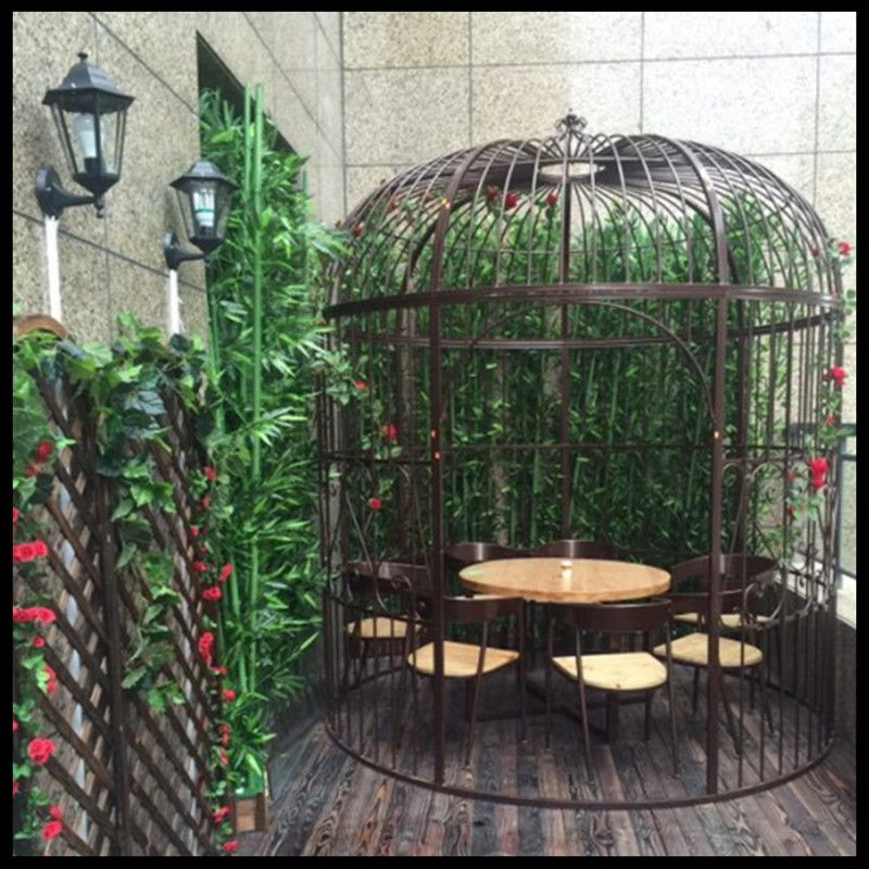 1 pièces cage à oiseaux en fer forgé européen grande décoration de mariage décoration atterrissage extérieur hôtel restaurant carte siège cage à oiseaux