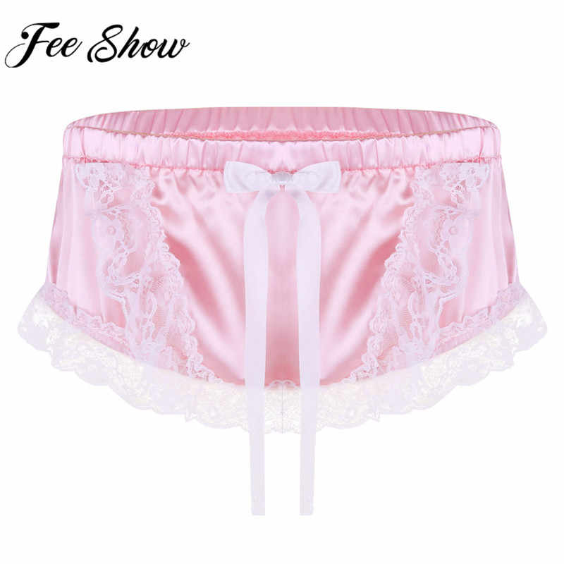 167574f0570f Feeshow Brand Mens Sissy Underwear Male Panties Lingerie Satin Ruffled Lace  Floral Briefs Gay Sleepwear Homme