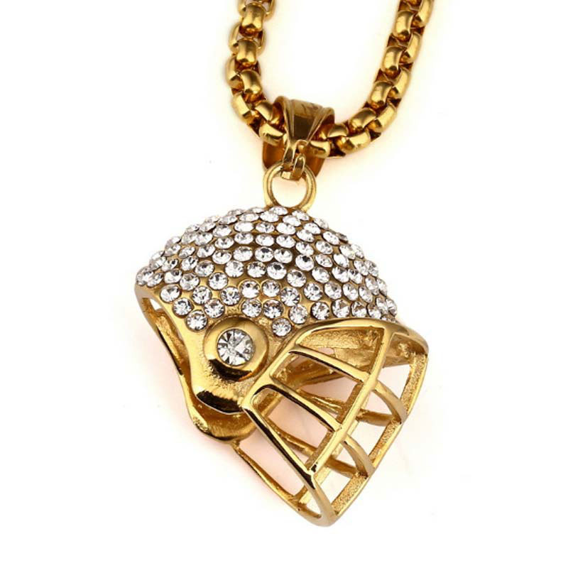 American Football Helmet Pendant Necklace Stainless Steel Chain Gold Color CZ Crystal Rugby Ball Sport Jewelry For Men