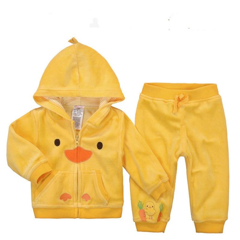 2pcs/set Autumn baby boy Hoodie Zipper long sleeves O-Neck cotton printing Rabbit Winter Child clothing set ropa de bebe 2pcs set baby clothes set boy