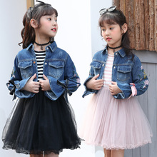 Girl Jeans Dress Set 2019 spring and autumn  childrens two pieces suit fashion girl dress