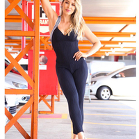 ee5f6d0931893 New Padded Gym Set Backless Yoga Sets Sport Suit Yoga Jumpsuit Workout  Clothes For Women Tight