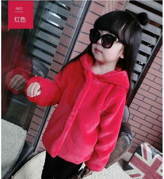 Abrigo con capucha de orejas de conejo para niñas 2018 abrigo de piel sintética de manga larga para niños chaquetas de piel de invierno cálido estilo Lolita XL9