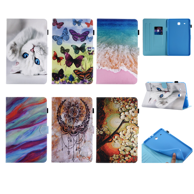 PU Leather Soft TPU Back Stand Case for Samsung Galaxy Tab E 9.6 T560 T561 Cute Printings Tablet Cover for Samsung Tab E 9.6 luxury flip stand case for samsung galaxy tab 3 10 1 p5200 p5210 p5220 tablet 10 1 inch pu leather protective cover for tab3