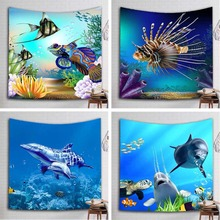 Tropical Fish Printed Tapestry Dolphin Whale Wall Hanging Gobelin Rug Bedroom Curtain Decor Mural Travel Mattres Beach Blanket