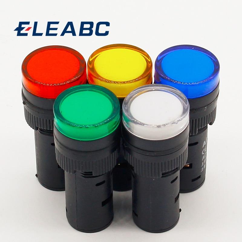 1pcs 16mm Signal Led Indicator Light Blue Green Red,white Yellow Pilot Lamp 12V 24V 220V