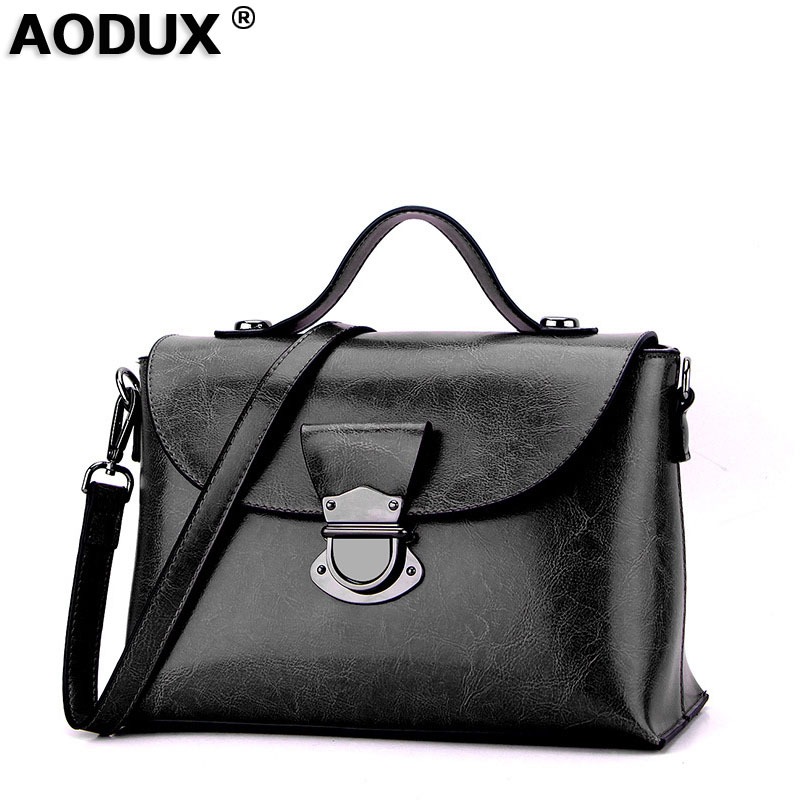 AODUX 2018 Vintage Fashion Designer Genuine Leather Women Handbag Oil Wax Cow Leather Shoulder Bag Tote Ladies Messenger Bags new 2017 fashion brand genuine leather women handbag europe and america oil wax leather shoulder bag casual women