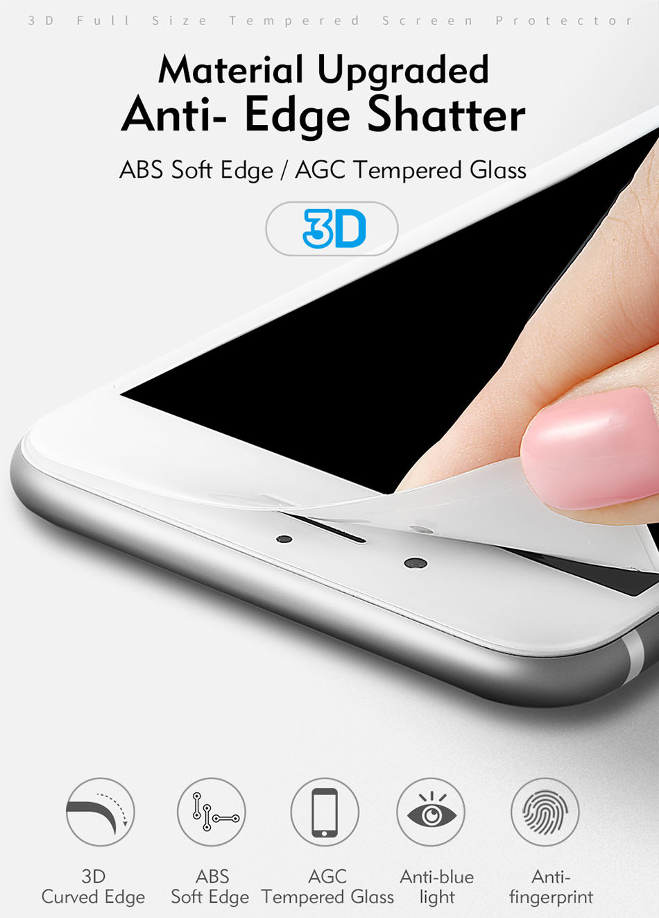 Benks 3D Tempered Glass Film For iPhone 8 7 6s Full Curved Screen Protector 0.23mm Cover Protection Front Film For iphone 6 Plus (2)