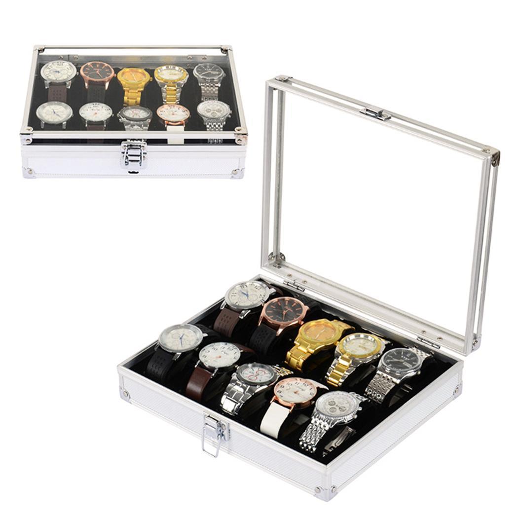 Nützliche Aluminium Uhren Box 12 Grid Slots Schmuck Uhren Display Lagerung Box Platz Fall Wildleder Innen Rechteck Uhr Halter