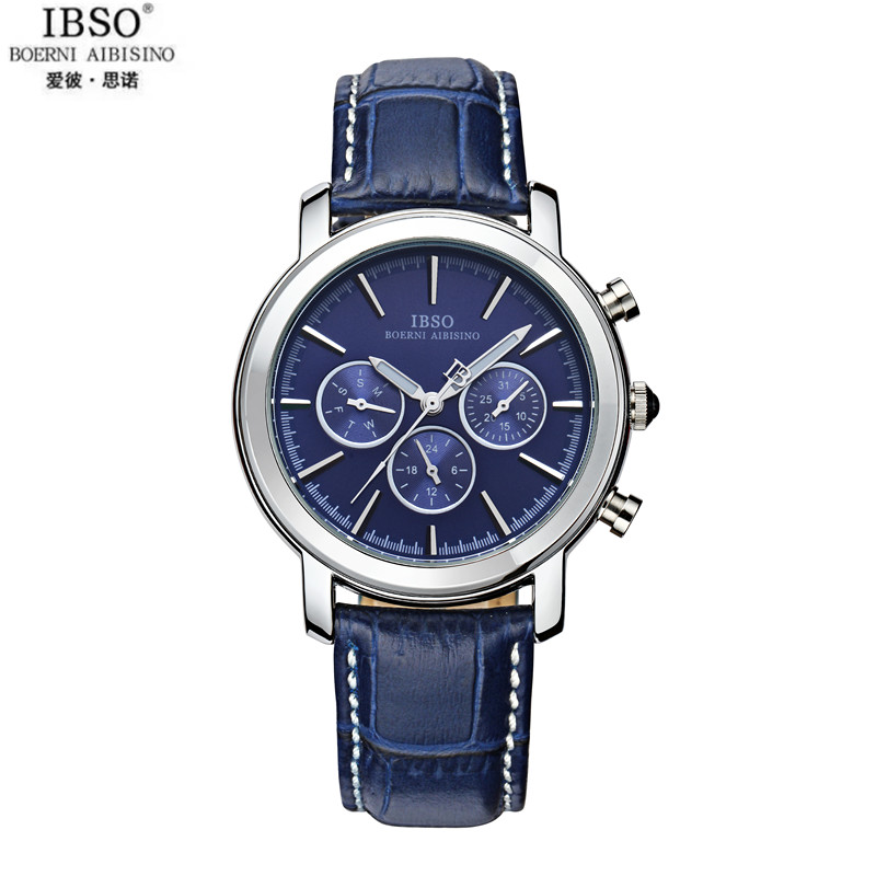 IBSO Round Big Dial Business Men Watch Imported Quartz Movements Genuine Leather Strap Six Stitches Neutral Fashion Watches