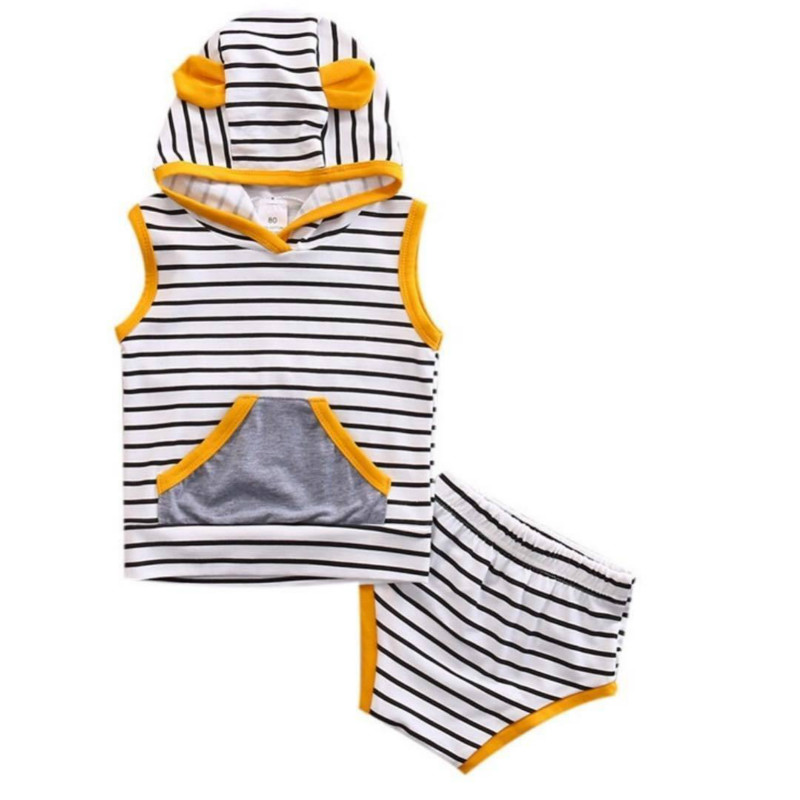 2017 Summer New 2PCS Striped Set Newborn Baby Boys Girls Costume Hooded Vest T-shirt Tops Pants Pantie Shorts Triangle Clothing flower sleeveless vest t shirt tops vest shorts pants outfit girl clothes set 2pcs baby children girls kids clothing bow knot