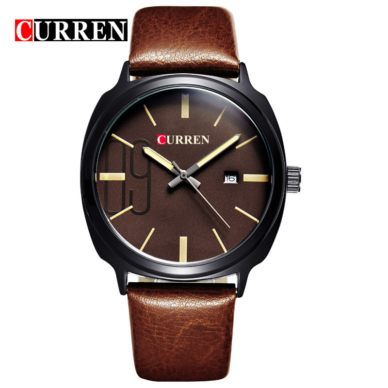 2017 Curren Luxury Business Calendar Quartz Stylish Men s Wrist Watch Genuine Leather Band with Round