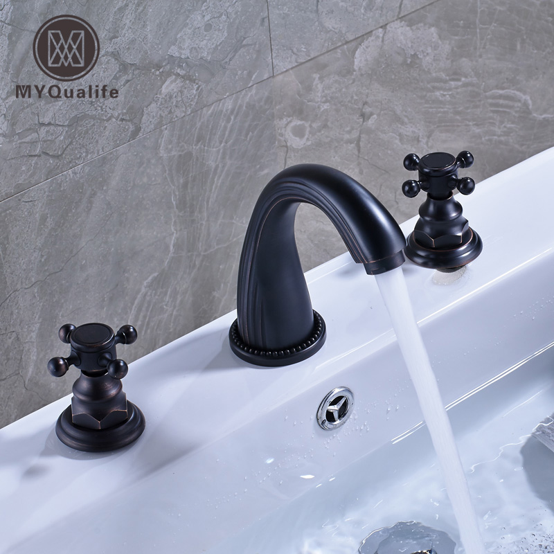 Oil Rubbed Blacken Widespread 8 Inch Deck Mounted Basin Mixer Taps Dual Cross Knob Bathroom Lavatory Sink Faucet allen roth brinkley handsome oil rubbed bronze metal toothbrush holder