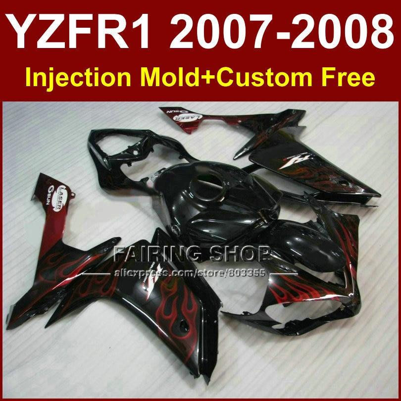 New red flame in black fairing set for YAMAHA YZFR1 2007 2008 fairings kits R1 YZF R1 bodyworks YZF1000 YZF 1000 07 08 +7Gifts запчасти для мотоциклов yamaha yzf1000 r1 07 08