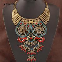 2015 Hot New Vintage OWL Necklaces Pendants Big Collares Necklace Gold Silver Necklace Crystal Jewelry Statement