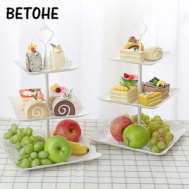 cd44445fd0 US $3.38 10% OFF|3 Pcs/set Creative European PP Fruit Bowl Afternoon Tea  Dessert Plate Three tier of Fruit Basket Tray Cake Tray Decor for Gift-in  ...