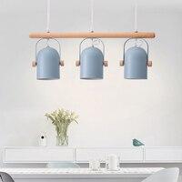 Nordic chandelier Modern wooden dining room lamp Macaron iron LED pendant lamp Modern Kitchen Restaurant Light Ceiling Fixtures