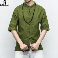 Chinese Wind Large Yards Loose Loose Buckle Shirt Short Sleeved Men S Half Sleeve Shirt Cotton