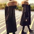 Abrigo de lana Mezclas Outwear Negro Trincheras Invierno Otoño 2017 Saches Moda Mujer Abrigo Capucha raccon real Cinturón de Cuello Largo