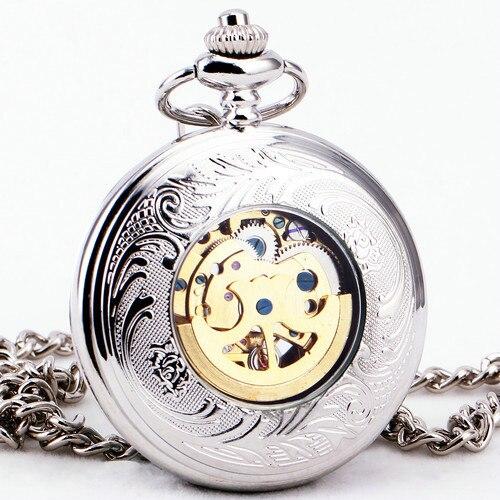 67081e51803 Delicate Prata aço Inoxidável Unisex Das Mulheres Barrocas Tampa Oca Relógio  de Bolso Cadeia Fob Relógios de Luxo Mecânico Automático em Relógios de  bolso ...