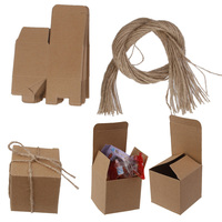 New Hot Sale 50pcs Kraft Brown Shabby Chic Sweets Candy Gift Boxes 5x5x5cm Wedding Party Favor