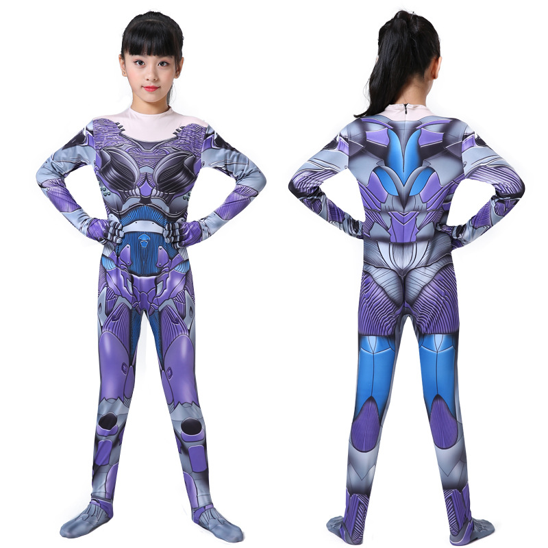 Kids Girls Alita Battle Angel Cosplay Costumes Fancy Halloween Party Suit Bodysuit Jumpsuit