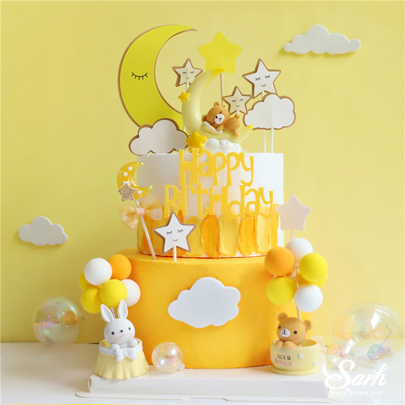 Strange Pink Yellow Moon Bear Rabbit Decoration Happy Birthday Cake Topper Personalised Birthday Cards Paralily Jamesorg