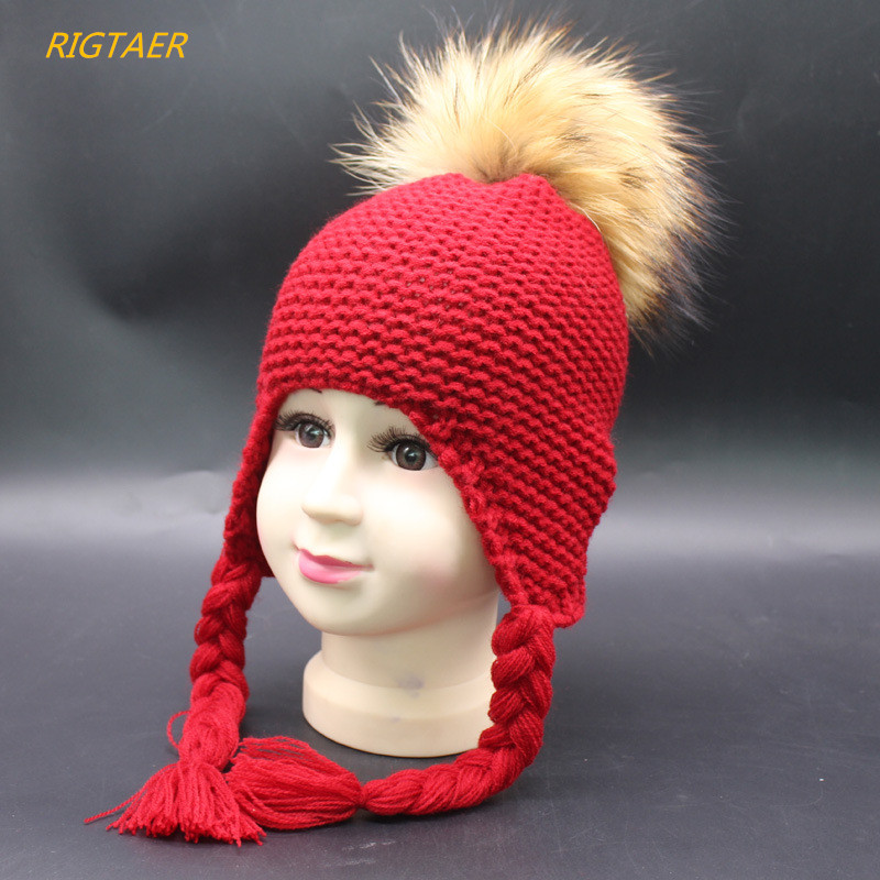 Children raccoon hair ball cap baby winter warm ear protection cap boys and girls knitting Pompon baby hat twist braids beanies