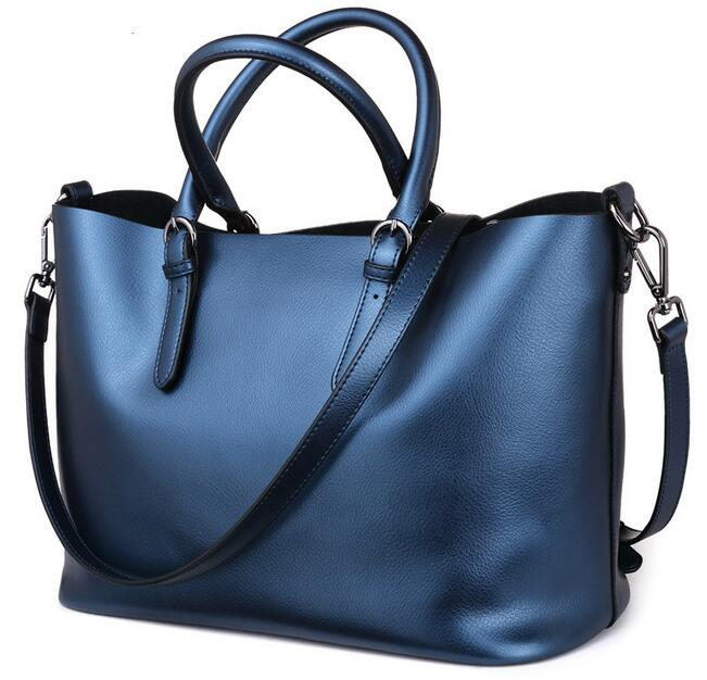 Luxury Handbags Fashion Crossbody Bags for Women 2017 Ladies Tote Bag Genuine Leather Bag Female Solid Handbag Black Blue A026