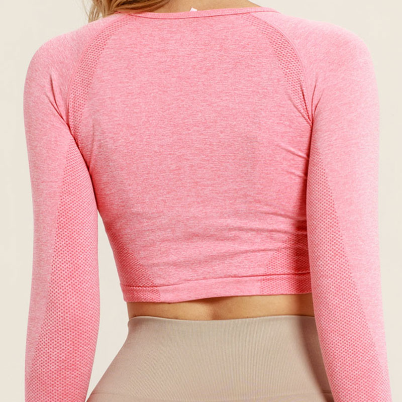 b27bac9aa836c3 Pink Seamless Yoga Shirts For Women Vital Seamless Long Sleeve Crop Top  Thumb Hole Fitted Gym Top Shirts Workout Running Clothes-in Yoga Shirts  from Sports ...
