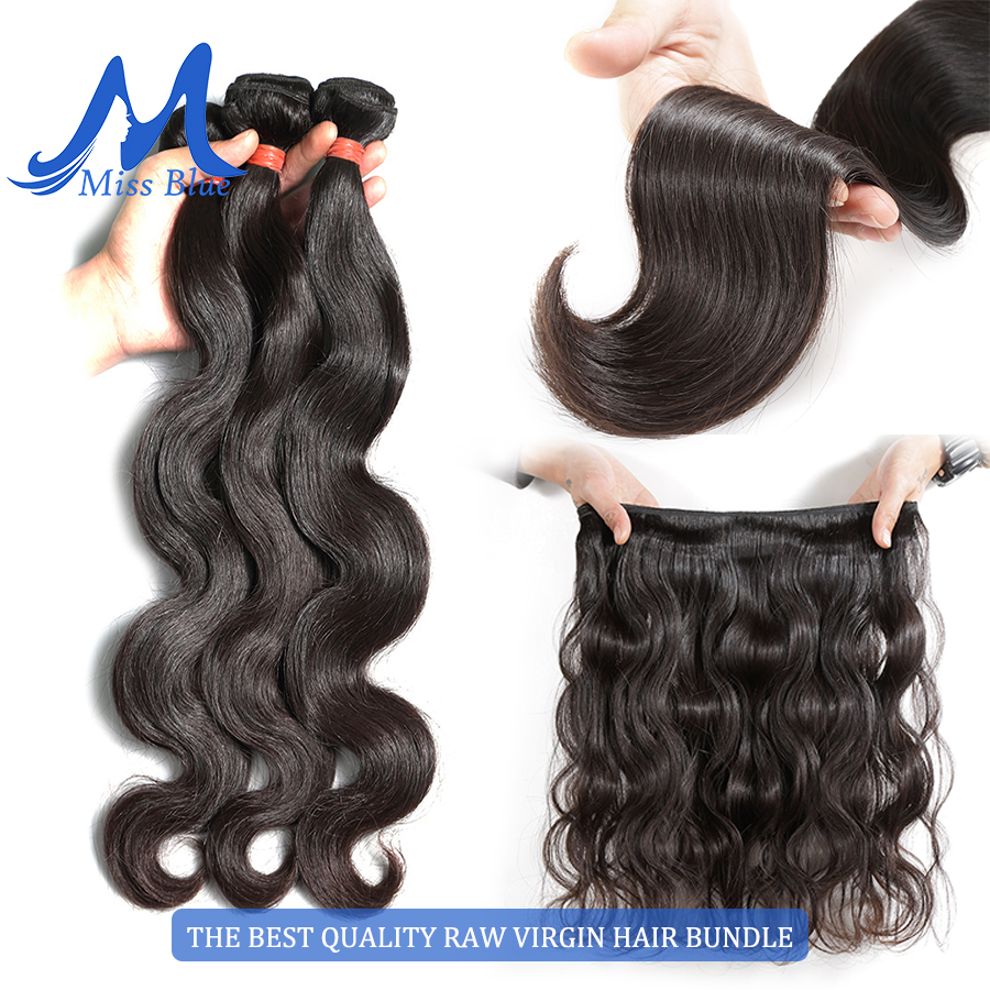 Missblue 10A Mink Quality Brazilian Virgin Hair Bundles Body Wave Grade 10A Raw Human Hair Weave Bundles Extension 1 3 4 P/Lots 6