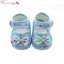 Newborn Girls Baby Shoes Cute Bow Soft Sole Cotton First Walkers Toddler Moccasins Pink Red Blue(China)