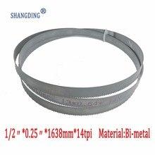 """למעלה איכות מתכת 64.5 """"x 1/2"""" x 0.25 """"x 14tpi Bimetal מתכת חיתוך להקה ראתה להב M42 1638mm x 13mm"""
