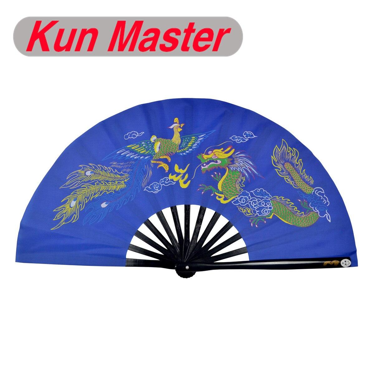 De bambú Kung Fu abanico de luchas de artes marciales práctica rendimiento Fan de Wu Shu Fan de dragón y Phoenix (azul) Trajes tradicionales chinos para hombres, Chaqueta de traje Tang Wu Shu Tai Chi Shaolin Kung Fu Wing Chun, camisa de manga larga, traje de ejercicios