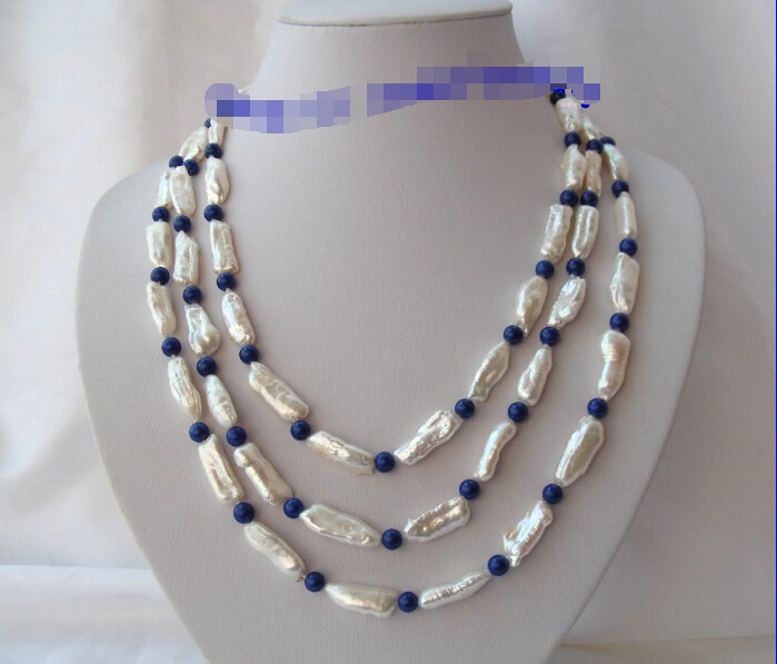 FREE shipping stunning 3rows big 25mm white baroque pearls blue lapis lazuli necklace g788