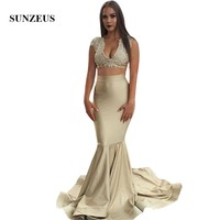 V neck Cap Sleeves Appliques Crop Top Prom Dress Two Piece Mermaid Party Gowns Long Vestido Prom
