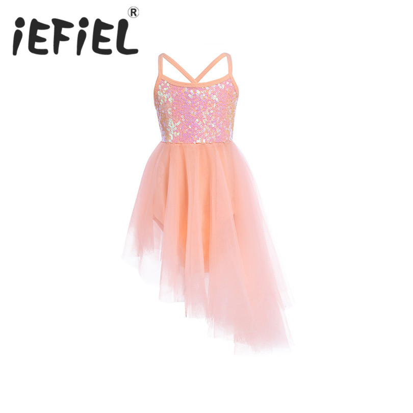 iEFiEL Kid Girls Sequined Dancewear Bodysuit Gymnastic Ballet Leotard Tulle  Tutu Dress Ballerina Performance for Ballet a2619a0df569