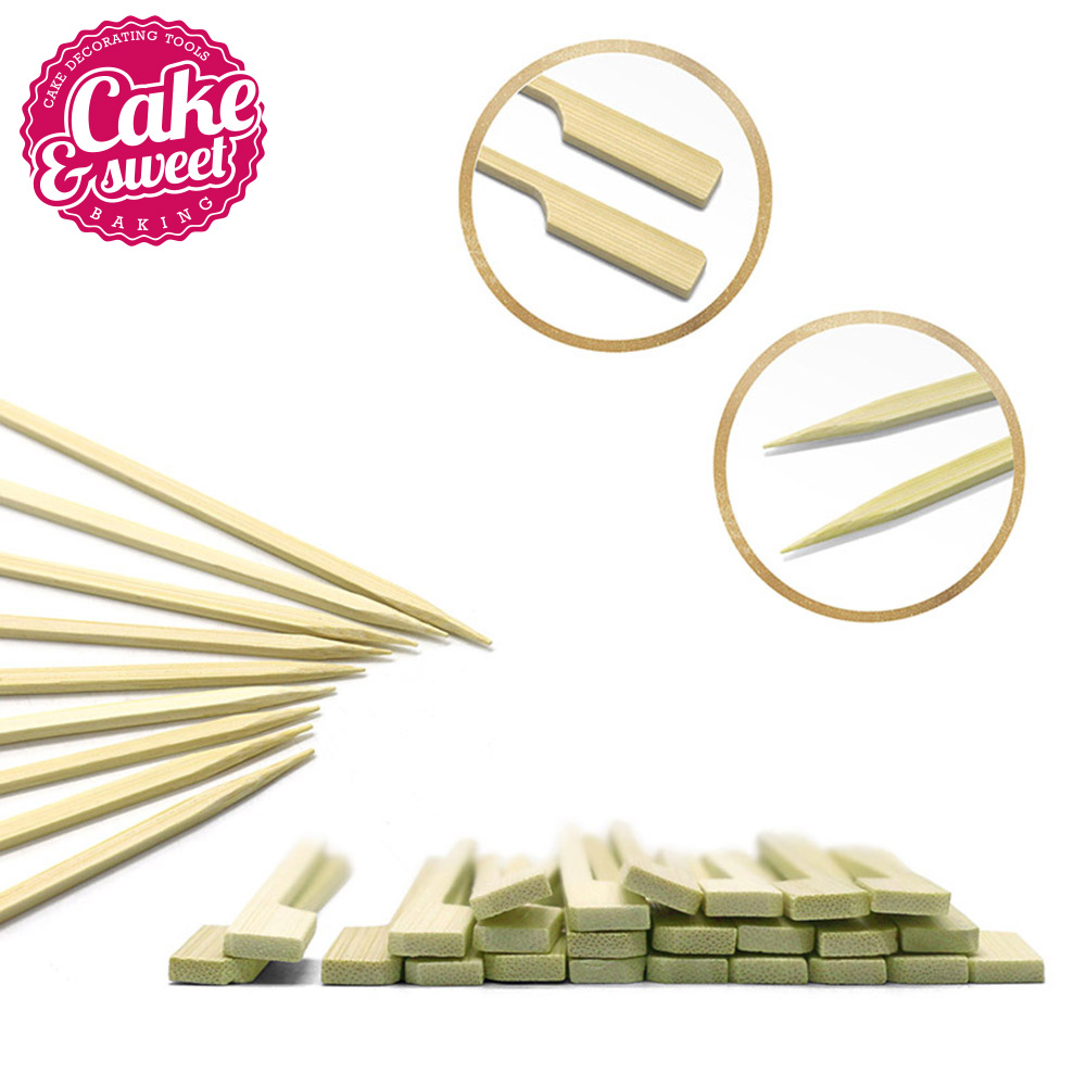 100/200pcs 6 inch Bamboo Skewers Paddle Sticks For BBQ Fruit Toothpicks Party Supplies Chicken Skewer Appetizers and Cocktails