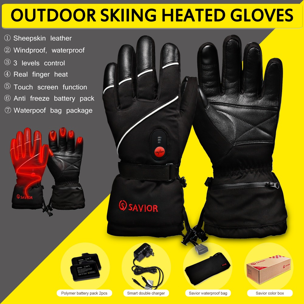 SAUVEUR S-15 hiver Chauffage Électrique Gants D'hiver Ski, pêche, basse température en cuir gants hommes femmes