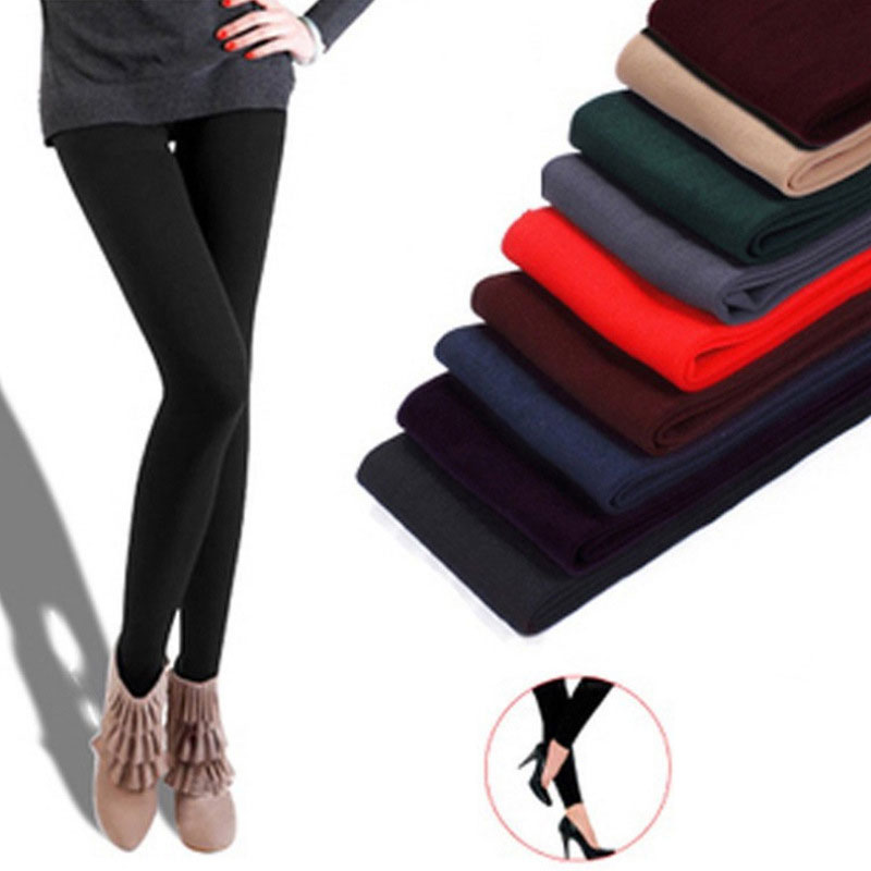 Slim Leggings Fleece-Pants Stretch Velvet Knitted Skinny Faux Thick Women Winter Casual