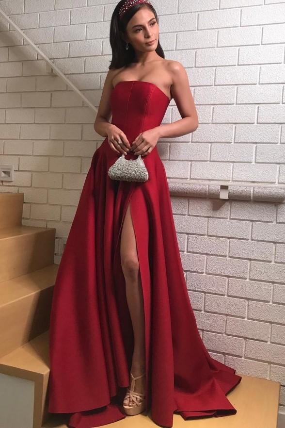 Robe formelle femmes élégante robe de soirée 2019 sans bretelles Satin rouge foncé robes de bal avec fente latérale robe de soirée