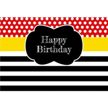 Laeacco Baby Birthday Party Black White Stripes Red Dots Poster Portrait Photo Backgrounds Photography Backdrops Studio