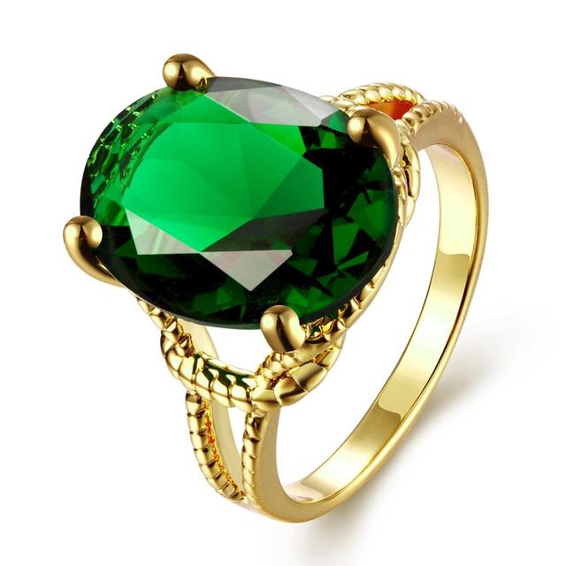 ORP brand jewelry Wedding Ring green Luxury AAA Zircon Ring high quality copper gold plating elegant party Rings for women