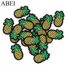 10 pçs/lote Abacaxi Frutas Apliques De Ferro-on Patches Bordados Roupas DIY Adesivos de Jeans Decoração Artesanal de Costura Craft