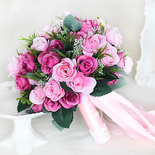 White Rose Wedding Bouquet Pink Bouquet De Mariage Red Wedding Flowers Bridal Bouquets Wedding Bouquet For Brides in Wedding Bouquets from Weddings Events